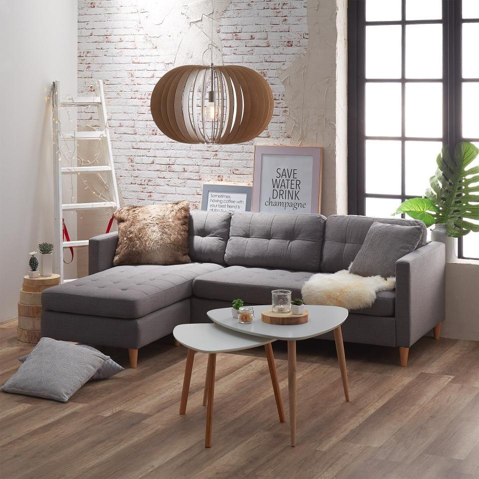 Ecksofa Falslev 2 Sitzer Recamiere Grau Ecksofa Couch Grau