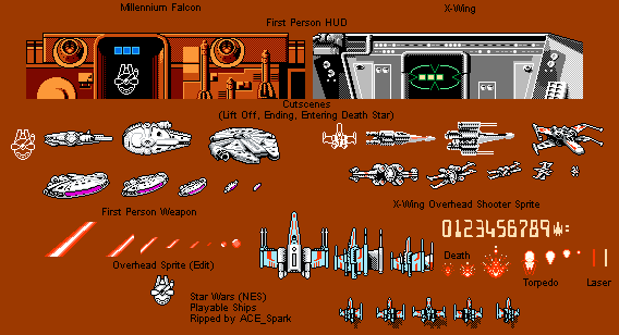 Playable Ships Star Wars Nes Video Game Sprites