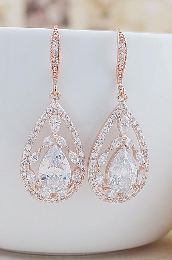 Luxury Rose Gold Cubic Zirconia Drop Bridal Earrings Beautiful