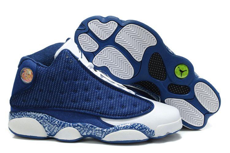 Mens Nike Air Jordan 13 Retro Sneakers (Blue/White)