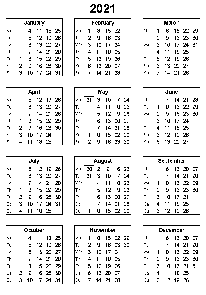 2021 Yearly Calendar Printable Template In 2020 Calendar Printables Yearly Calendar Monthly Calendar Template