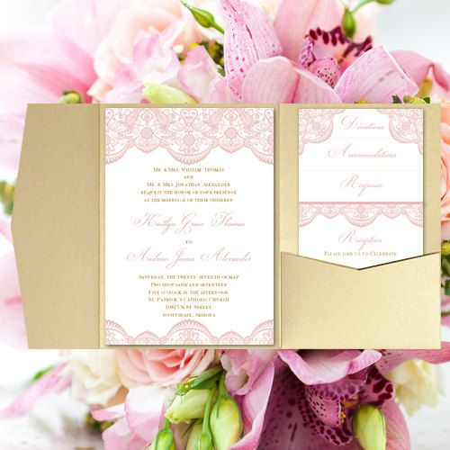 "Lace Blush Pink And Gold Color: Pocket Fold Wedding Invitations ""Vintage Lace"" Blush Pink"