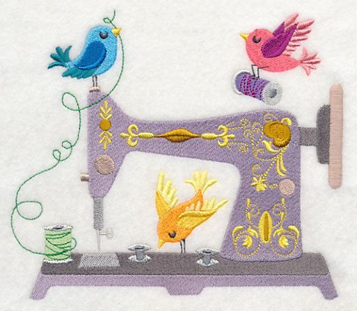 Embroidered Sing song stitches quilt block,sewing fabric,birds,sewing machine