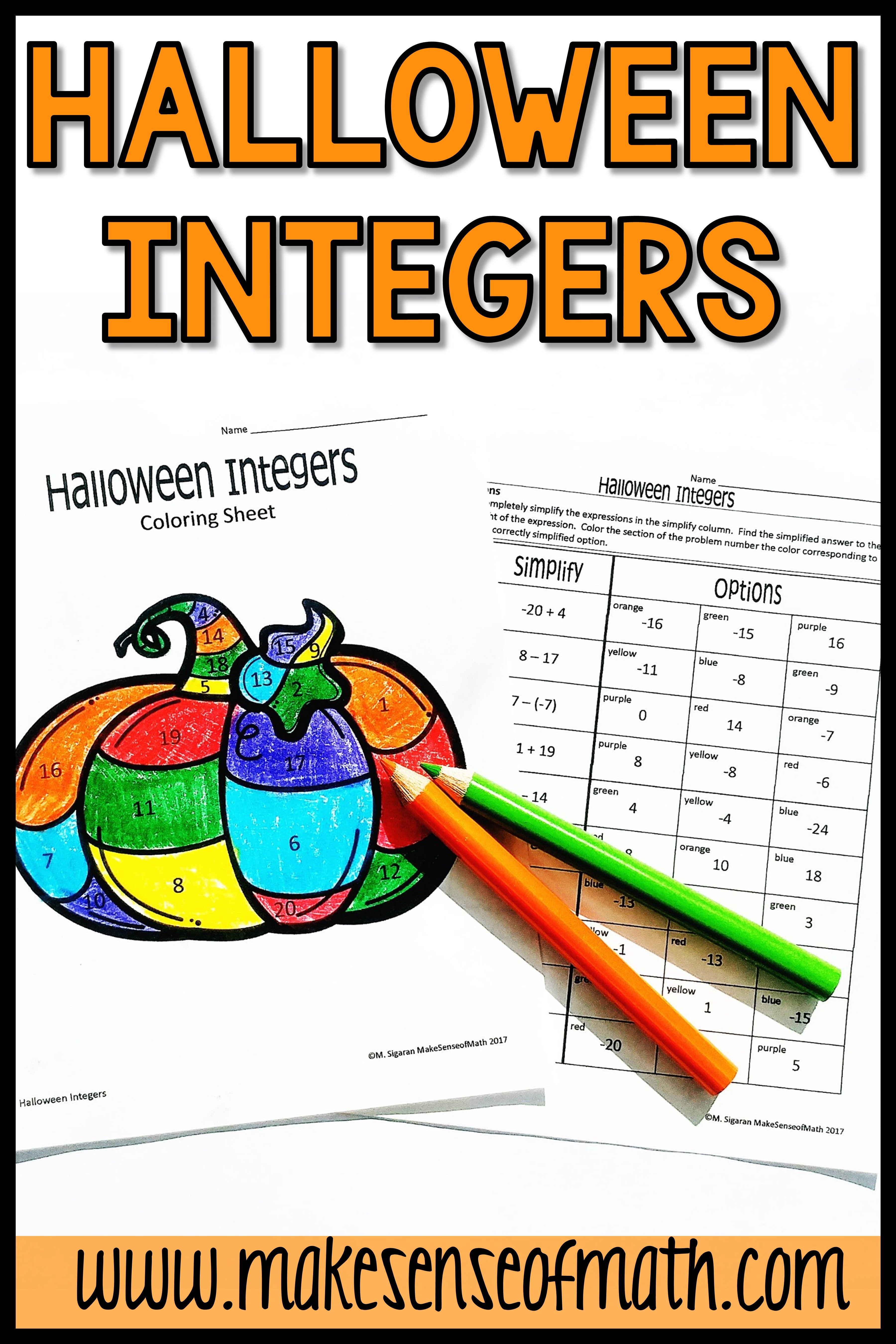 Halloween Math Activity Adding And Subtracting Integers In