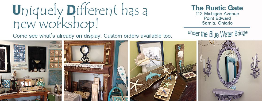 Very cool store!  Home & Cottage Decor.  Unique refurbished and re-purposed items. Shabby Chic and Distressed finish. Custom orders welcome.  Find us on Facebook - Uniquely Different