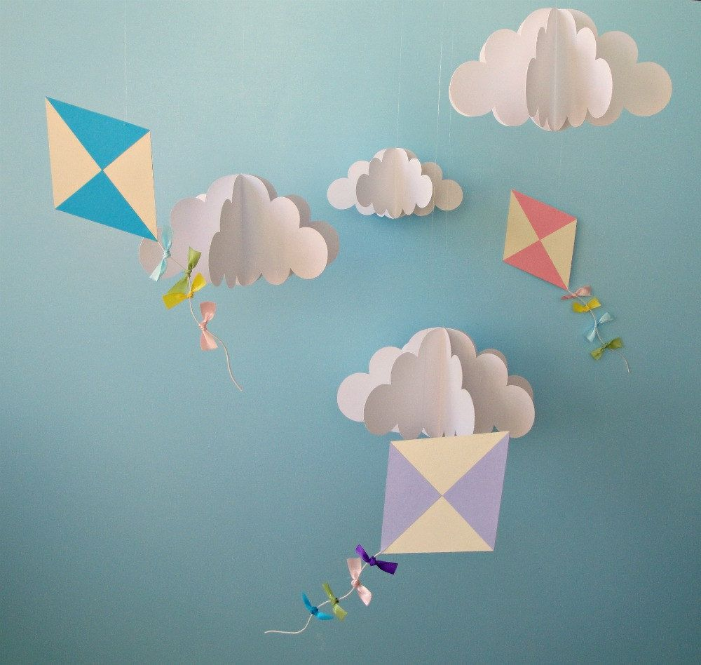Large Hanging 3D Kites and Clouds (separates)/Baby Mobile/Nursery Mobile/Nursery Decor/Party Decor/Photo Prop. $55.00, via Etsy.