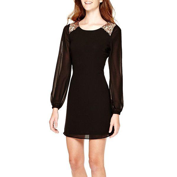 a35d970f99b My Michelle® Long-Sleeve Sequin-Shoulder Shift Dress - JCPenney ...