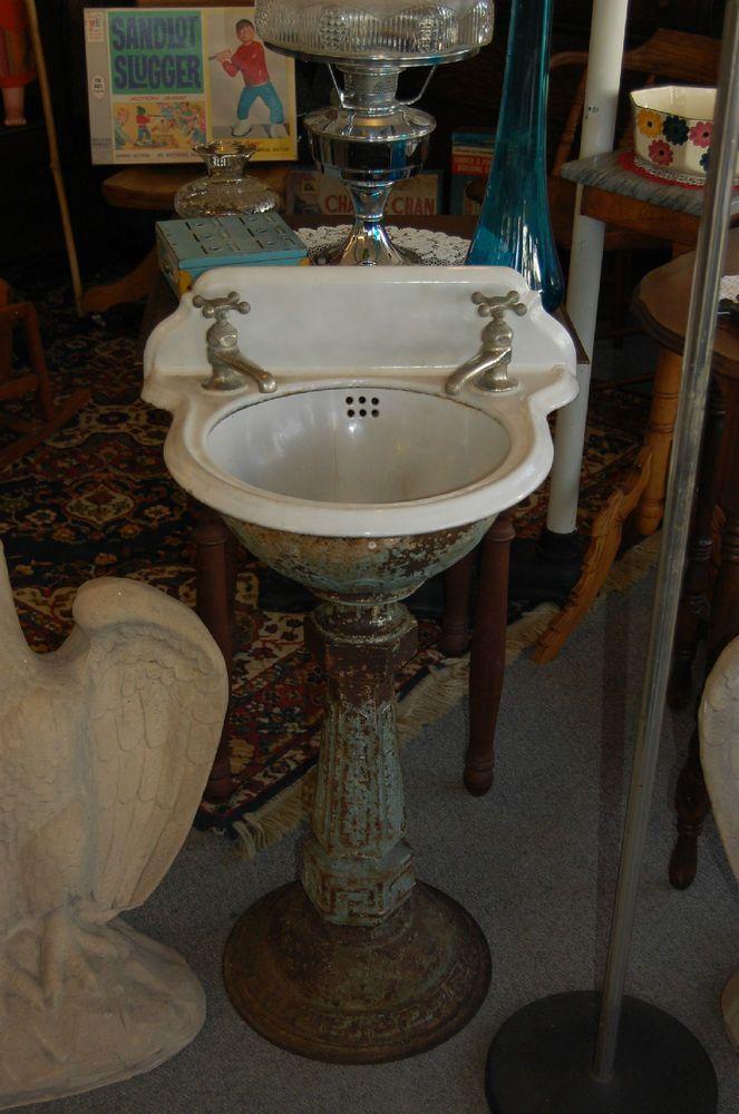 Antique Cast Iron Petite Pedestal Sink Vintage Train Sink