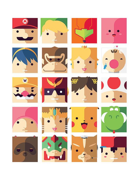 Nintendo Cute Modern Geek Art Print Kids | Video Game Art ...