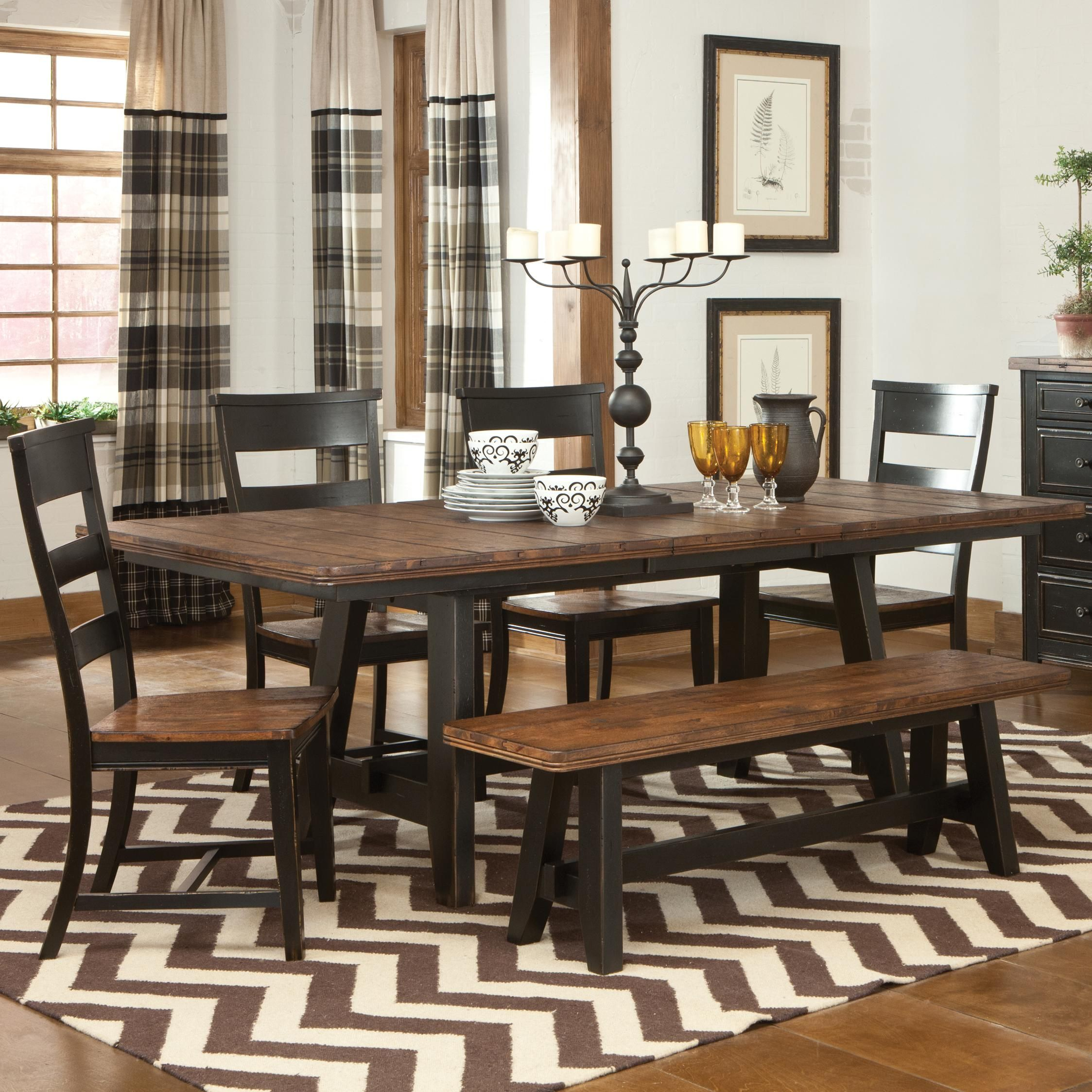 winchester 6 piece trestle table set by kalan furniture stuff intercon winchester 6 piece trestle table and ladder back chair set with backless dining bench godby home furnishings dining 5 piece set