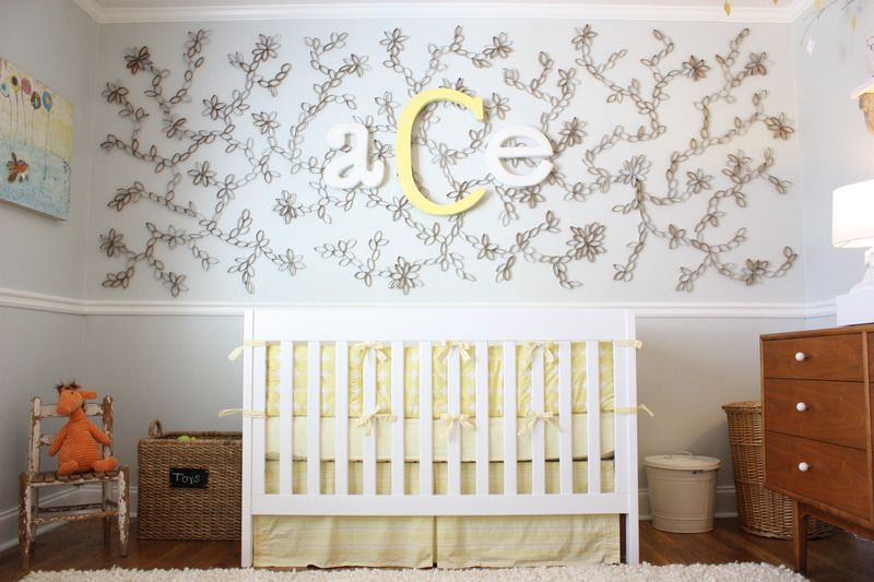 Mural made of cut up toilet paper rolls!
