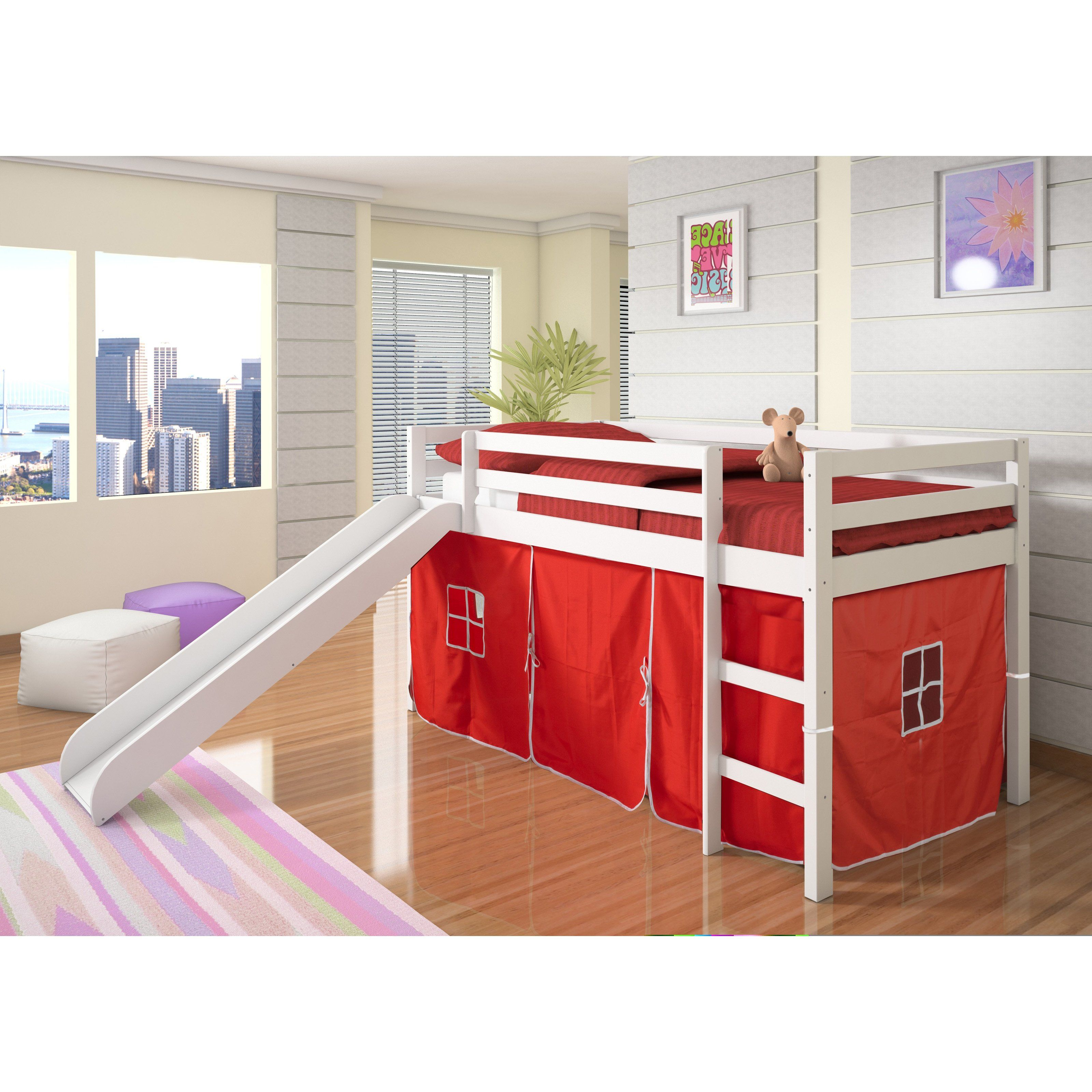 Donco Kids Twin Loft Tent Bed with Slide White Bed