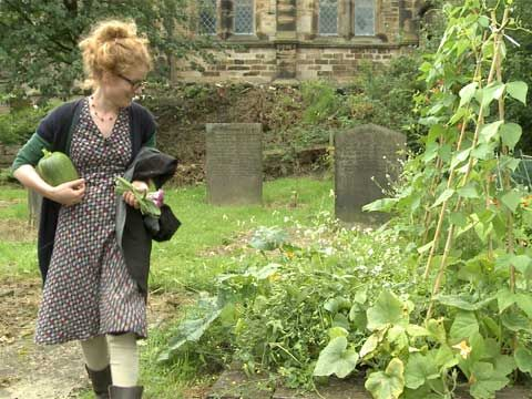 Alys in the garden graveyard--love this outfit. Just the right amount of layers.