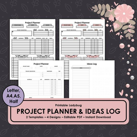 Project Planner,Project Management,Project Template, Ideas Log