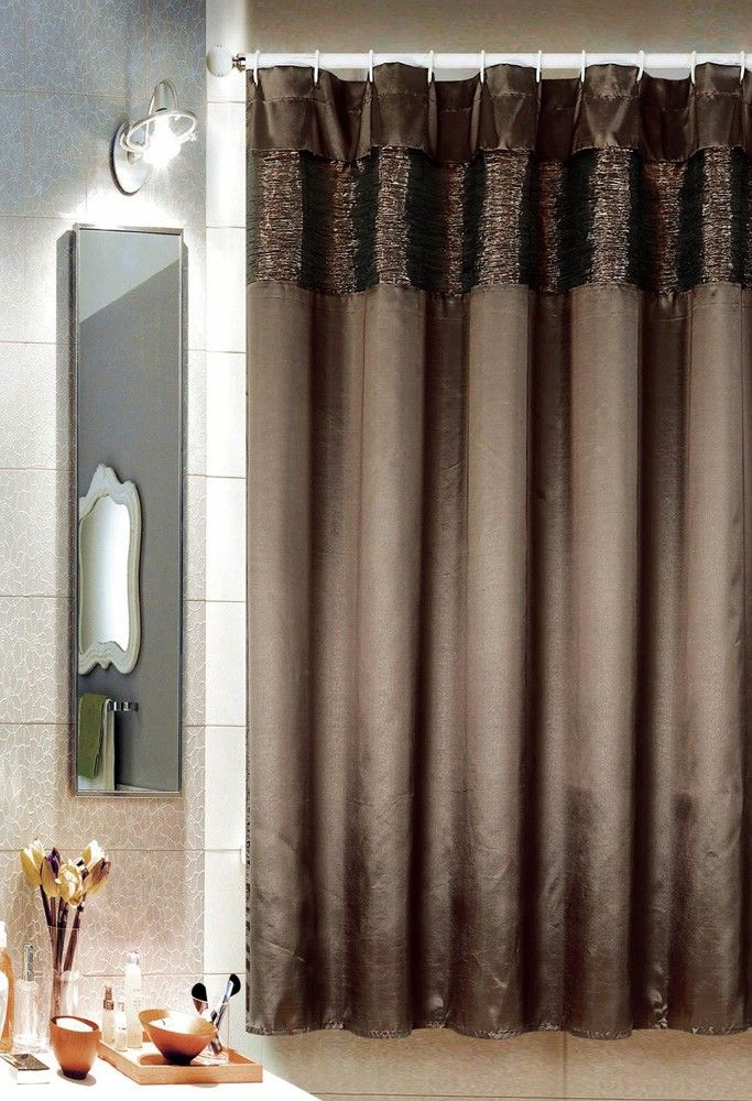 Alice Shower Curtain With Metallic Embellished Top Coffee Coffee