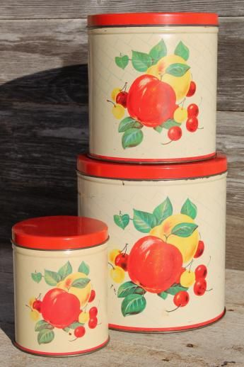 Mid Century Vintage Metal Kitchen Canisters W Bright Fruit Print Retro Canister Set Kitchen Canisters Metal Kitchen Vintage Canister Sets