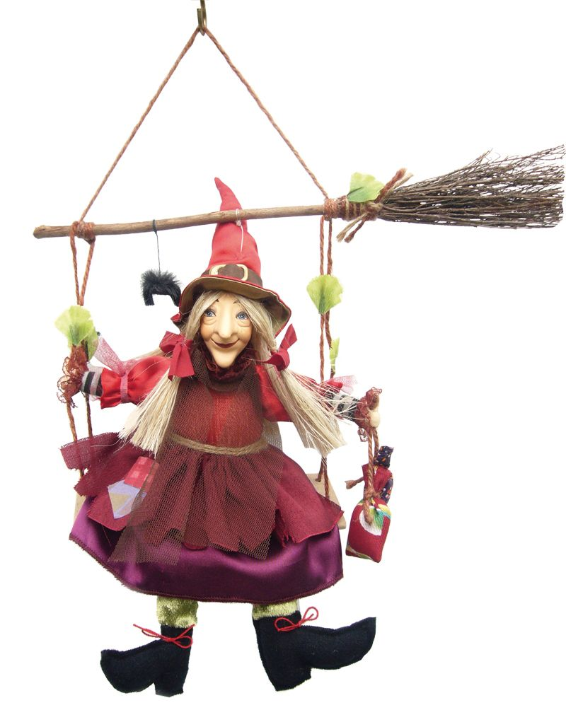 Olivia Swinging Kitchen Witch Doll is 9.5 inches long and swings ...