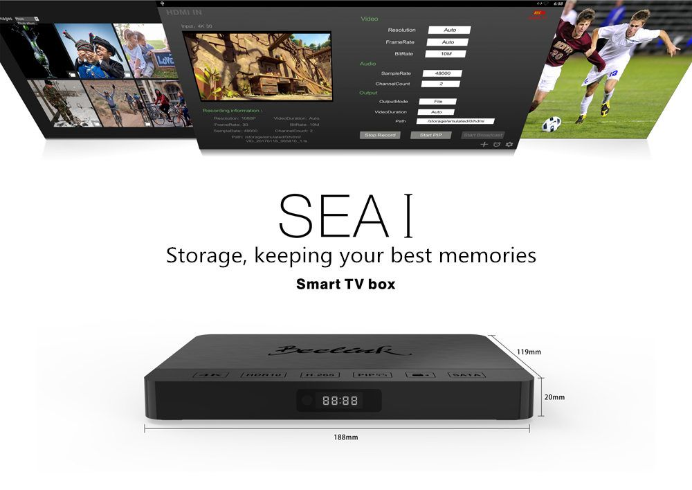beelink sea1 4k kodi box android tv removal hdd bay hdmi in realtek pip video