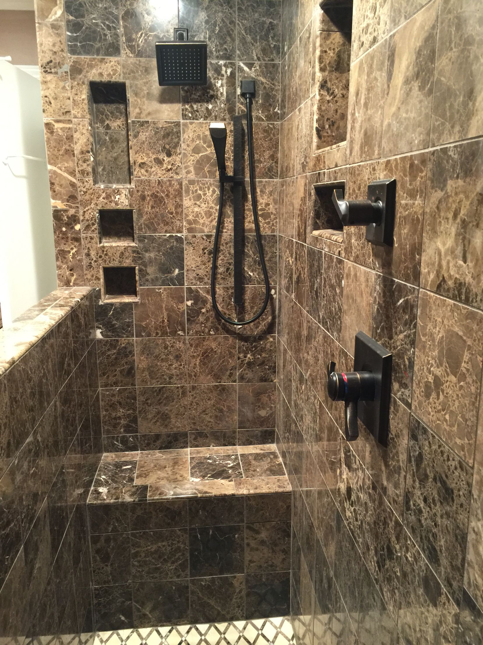 Converted shower/tub to Walk in Shower with Dark Emperador Marble ...