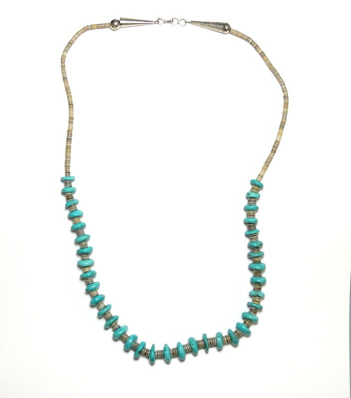 """Navajo Signed """"$"""" Turquoise HEISHI Beads 925 Silver Necklace"""