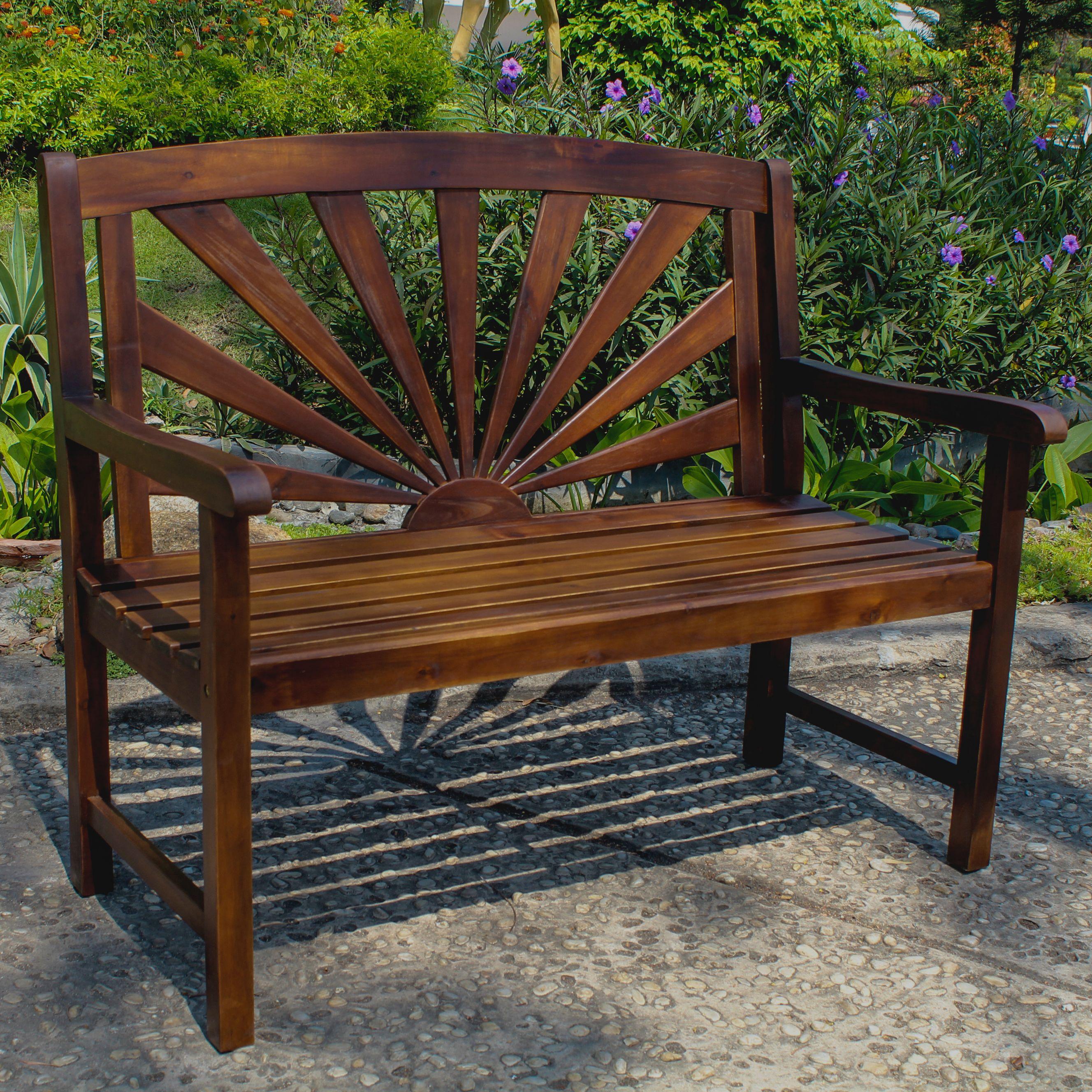 Highland Acacia Sapporo Bench Walmart Com Wooden Garden Benches Outdoor Garden Bench Patio Bench