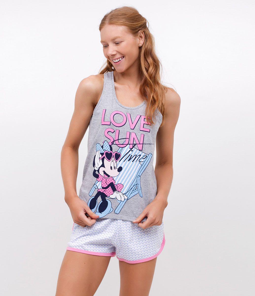 e07945dbf Short doll feminino Ragta nadador Com estampa Minnie Mouse Com short  estampado Marca: Disney Tecido: meia malha Modelo veste tamanho: P COLEÇÃO  VERÃO 2017 ...
