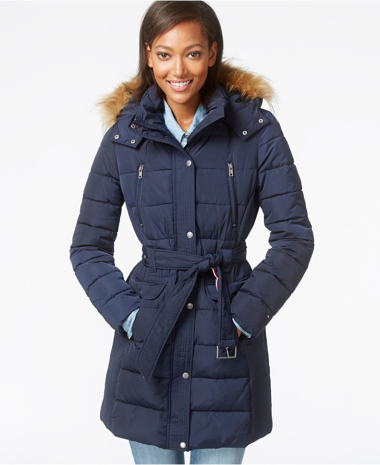93627f485 Tommy Hilfiger Faux-Fur-Trim Belted Puffer Coat - Coats - Women - Macy s