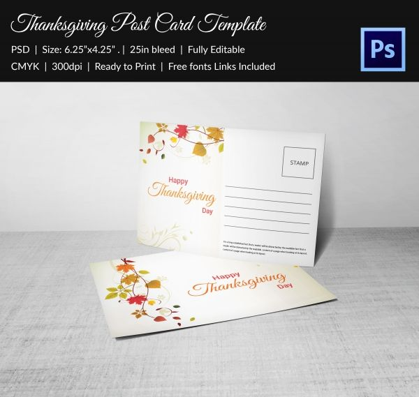Thanksgiving Postcard Invitation Template Free Download  Design