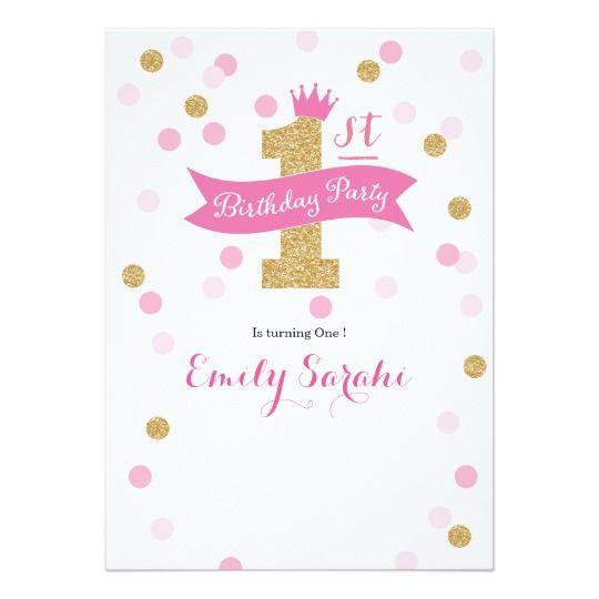 Birthday Party First Birthday Princess Invitation Zazzle Com Birthday Card Template Free Birthday Card Template Princess First Birthday