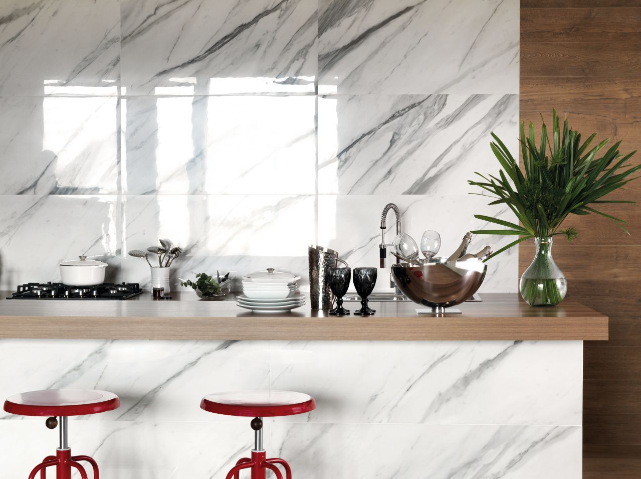 Cocina. Porcelanato Portobello Marmi Classico Bianco Carrara 60x120 ...