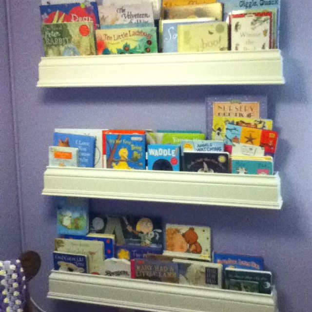 Bookshelves made from crown molding!