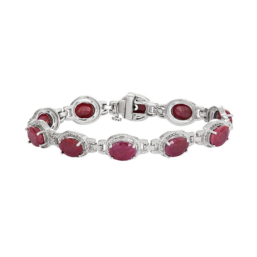 Sterling silver labcreated ruby u diamond accent oval halo bracelet