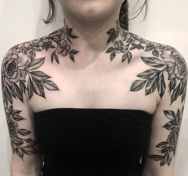 Floral Shoulders Floral Shoulders Floral Shoulders In 2020 With Images Neck Tattoos Women Chest Tattoos For Women Side Neck Tattoo