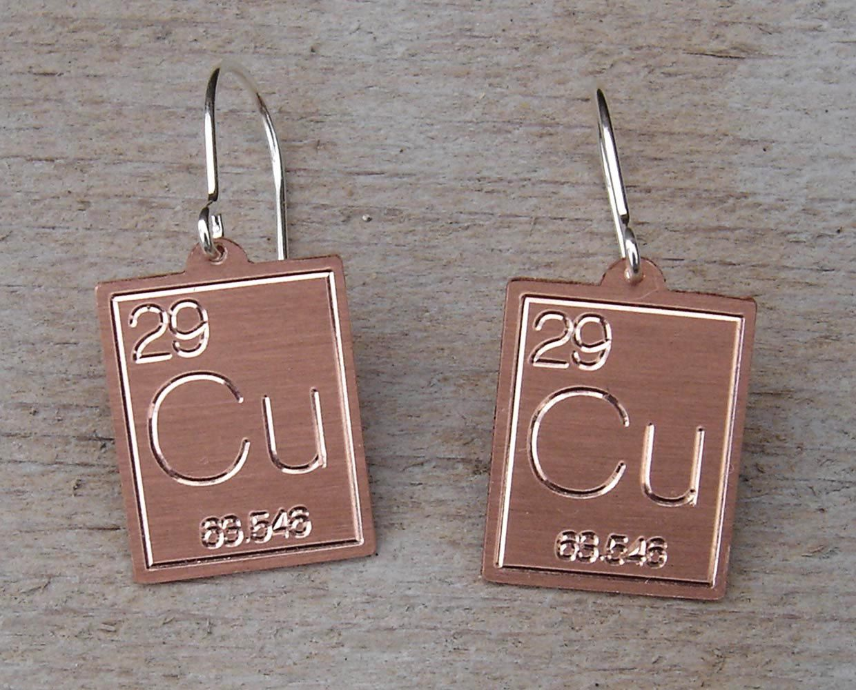 Atomic Symbol For Copper Earrings Periodic Table Science Jewelry