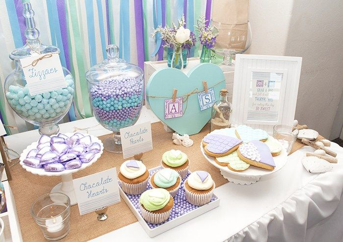 Beach Themed Engagement Party Planning Ideas Decor Idea Engagement Party Table Beach Themed Engagement Party Engagement Party Planning
