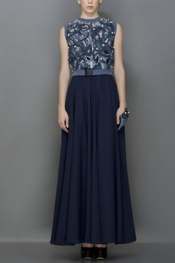 Whirl georgette flare gown with 3D denim hand woven braid and cord embroidered bodice