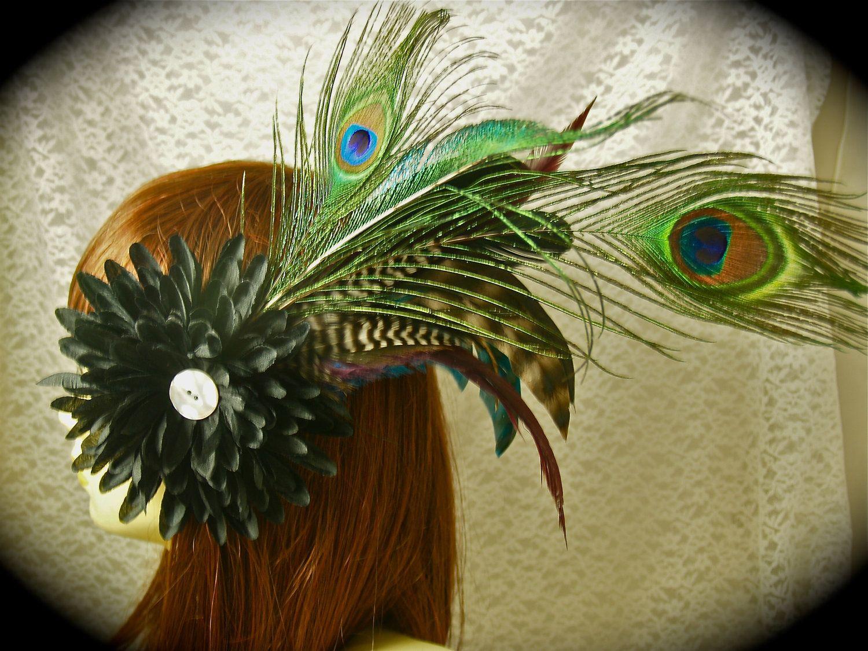 Gypsy Steampunk Flower Peacock Fascinator