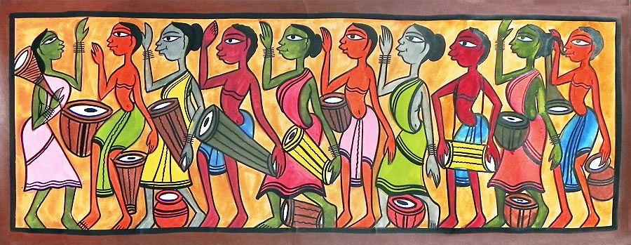 Santhal Celebrations | Tribal art drawings, Indian art paintings, Indian  traditional paintings