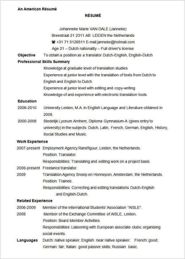 Resume Examples Usa Resume Examples Pinterest Sample resume