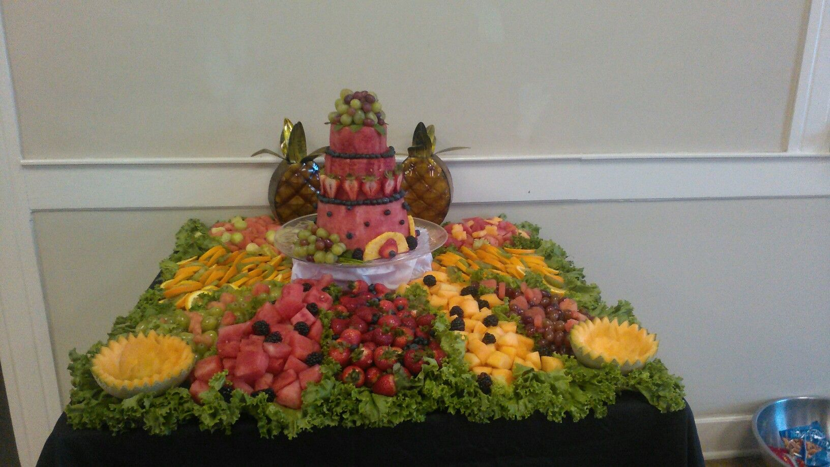 My first fruit table.  I took the picture before i put the fruit dip in the cantaloupes.