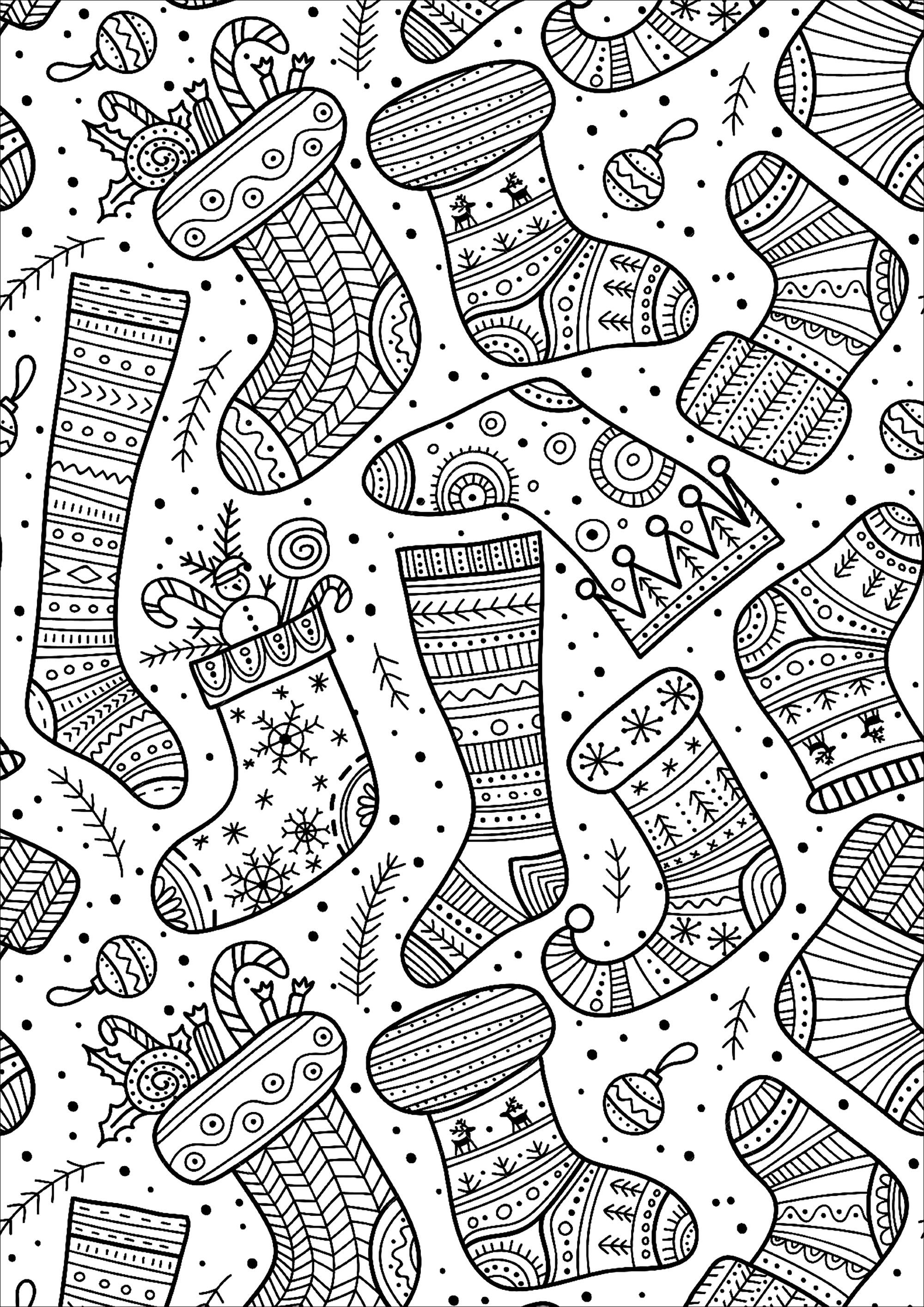 Cute Christmas Socks With Various And Happy Designs Christmas Coloring Pages Christmas Coloring Sheets Printable Christmas Coloring Pages