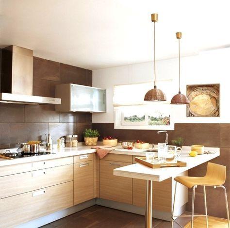 Küchenzeile Lform Holzfronten Schoko Braune Fliesen Spritzschuz - Braune fliesen küche