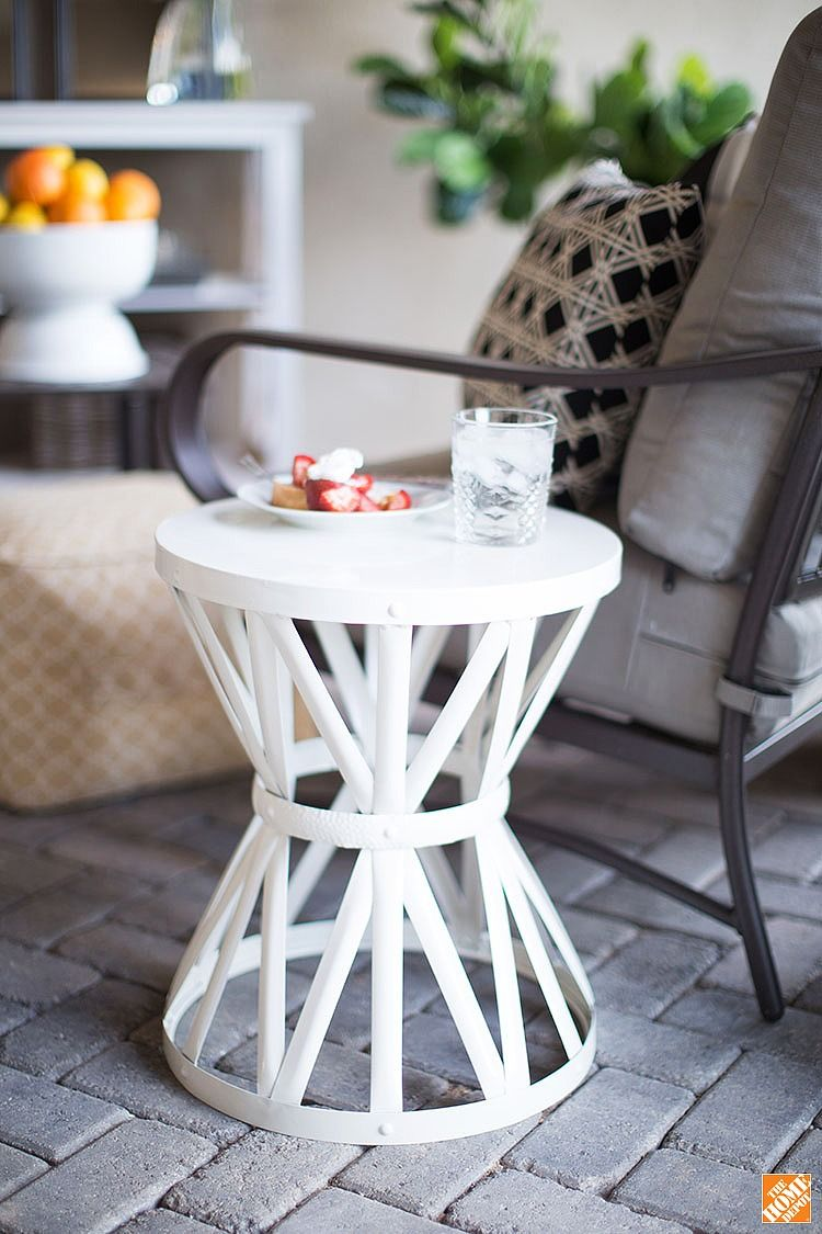 Use This Sturdy Metal Garden Stool As An End Table Extra Outdoor