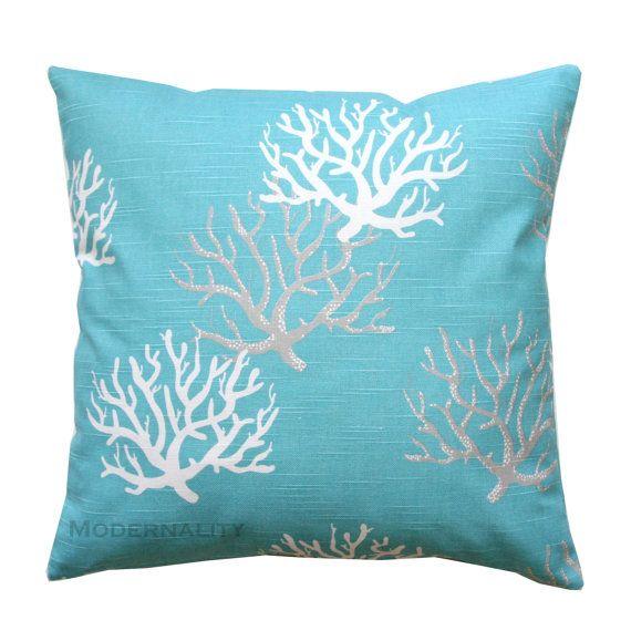 Accent oreillers-Premier imprime Isadella côtières de bleu oreiller Cover-All tailles-fermeture à glissière oreillers - Ocean Coral - nautique-Plage maison Decor
