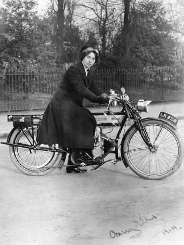 A Woman on a Douglas Motorbike, 1914 Photographic Print by | Art.com