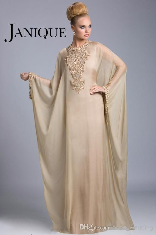 Wholesale Plus Size Evening Gowns Dubai Abaya Arabic Mother Of The Bride  Dresses Jewel Beads Batwing Long Sleeves Floor Length Chiffon Janique  JQ3402 8424ce28641e