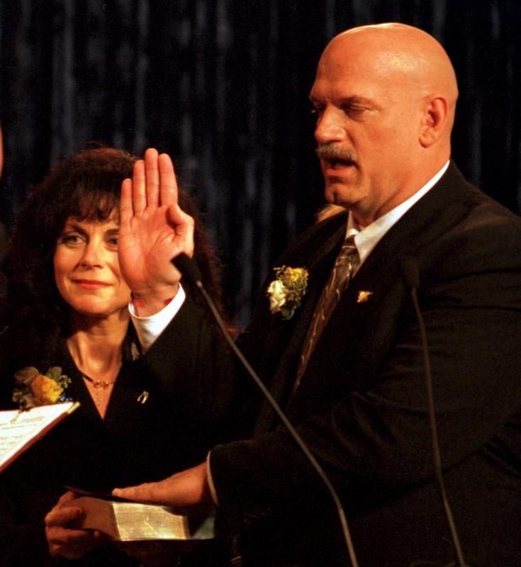 Image result for jesse ventura is sworn in as minnesota's governor