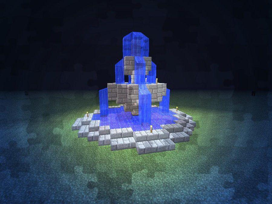 фонтан в майнкрафте маленький посыпьте торт