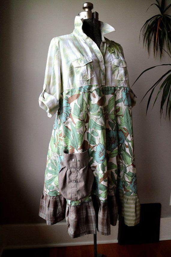 Upcycled Clothing, Large Upcycled Dress, Babydoll Dress Artsy Long Tunic, Shabby Funky Boho Chic, Spring Green, Refashioned Boho Dress