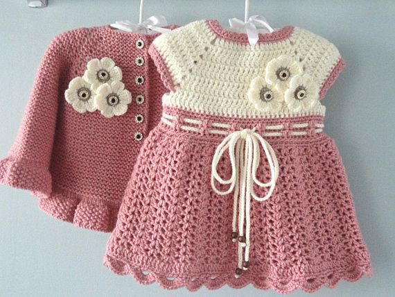 Photo of Crochet Baby Dress Crochet Baby Cardigan Knitted Baby Girl Jacket Newborn Dress Baby Sweater Knitted Baby Dress Baby Girl Gift